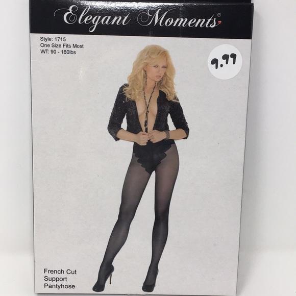 Elegant moments black sheer lace suspender brace cross pantyhose tights